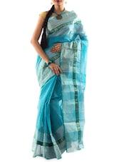Checked Border Pin Striped Handloom Cotton Saree - Mmantra