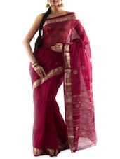 zari jacquard border sheer handloom cotton saree