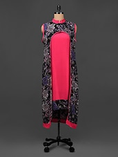 Printed Open-front Long Kurti - Saadgi