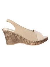Cream Open Toe Textured Heel Sandals - Niremo