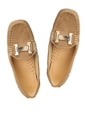 Brown Denim Look Embellished Loafers - By