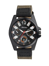 black colored leatherette chronograph sports watch -  online shopping for Sports Watches