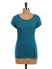 Blue Plain Solid Double Zip Cotton Top - WAS