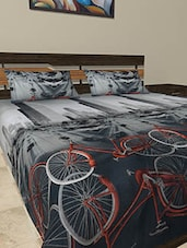 Cycle Printed Poly Cotton Bed Sheet Set - Balaji Creation