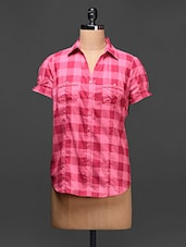 Check Print Short Sleeves Cotton Shirt - Raaziba