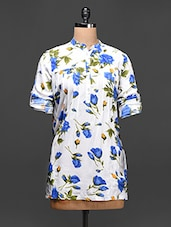 Mandarin Collar Floral Print Rayon Top - Raaziba