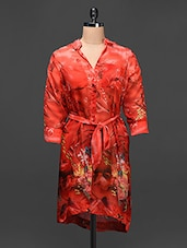 Red Georgette Printed Shirt Dress - Raaziba