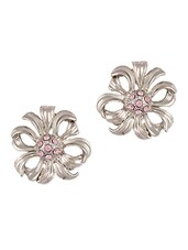 Silver Flower With Pink Stones Stud Earrings - THE BLING STUDIO