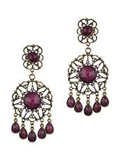 Antique Golden Purple Stones Dangle Earrings - THE BLING STUDIO