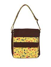 Brown Floral Cotton Canvas Messenger Bag - Allmine