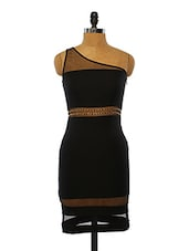 Black Embellished One-shoulder Polyester Dress - VINEGAR