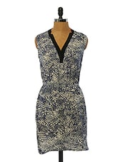 Dark Blue And Cream Printed Polyester Dress - VINEGAR