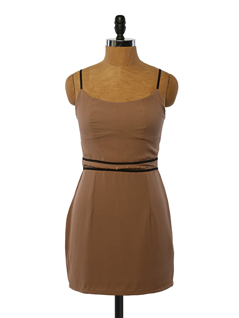 Brown Waist-embellished Polyester Dress - VINEGAR