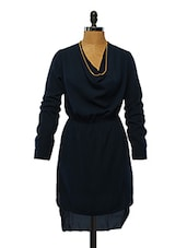 Navy Blue Polyester Dress - VINEGAR