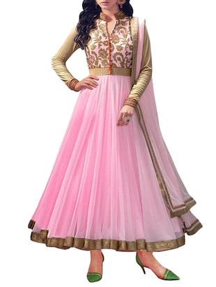 pink net anarkali suits dress material -  online shopping for Dress Material