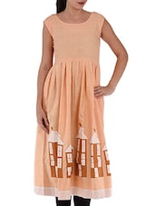 Peach Pleated Sleeveless Cotton Kurta - Villagsio
