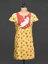 Floral Printed Short Sleeve Festive Kurti - Paislei