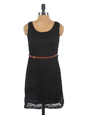 Black Sleeveless Lace Dress - Globus