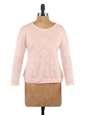 Pink  Printed Long Sleeves Polyester Top - Globus