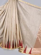 Geometric Border Cotton Silk Saree - BANARASI STYLE