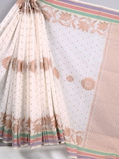 Woven Striped Border Pure Cotton Saree - BANARASI STYLE