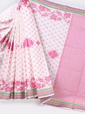 Striped Border Jacquard Weave Pure Cotton Saree - BANARASI STYLE