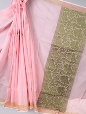 Baby Pink Super Net Cotton Saree - BANARASI STYLE