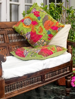 Green Kantha Cushion Cover - Art Age