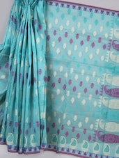 Light Blue Woven Super Net Cotton Saree - BANARASI STYLE