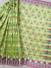 Light Green Woven Super Net Cotton Saree - BANARASI STYLE