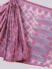 Pink Woven Paisley Art Silk Saree - Prabha Creations