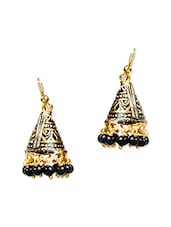 Gold And Black Metal Earring - By