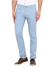 blue cotton casual trousers - Online Shopping for Casual Trousers