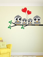 A Sweet Owl Family Multi Color Wall Stickers - By