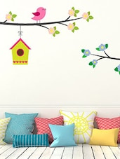 Birds And Bird Houses Multi Color Wall Stickers - By