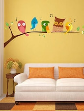 Birds Singing Perched On A Branch Of A Tree Multi Color Wall Stickers - By