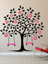 Flowering Tree With Swings Multi Color Wall Stickers - By