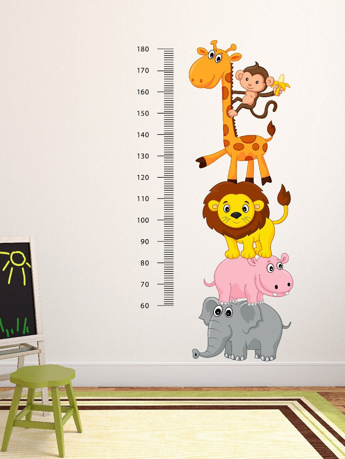Meter Wall With Funny Cheerful Animals Multi Color Wall Stickers - By