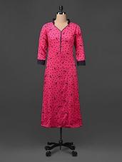 Dark Pink Printed Collared Rayon Kurta - Myra