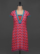 Multicolored Printed Short Sleeves Cotton Kurta - Myra