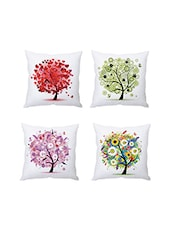 Multicolor Digitally Printed Set Of 4 Cushion Covers - By