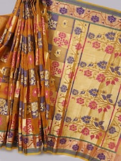 Checks In Floral Kora Silk Saree - Avishi Saree