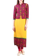 Yellow And Pink Rayon Long  Kurta - By