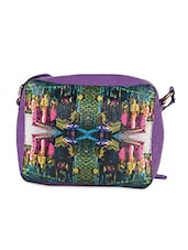 Digital Print Purple Sling Bag - ARTychoke