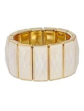 White Metallic Enameled Bracelet - Maayra