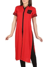 Red And Black Rayon Cotton Kurta - By