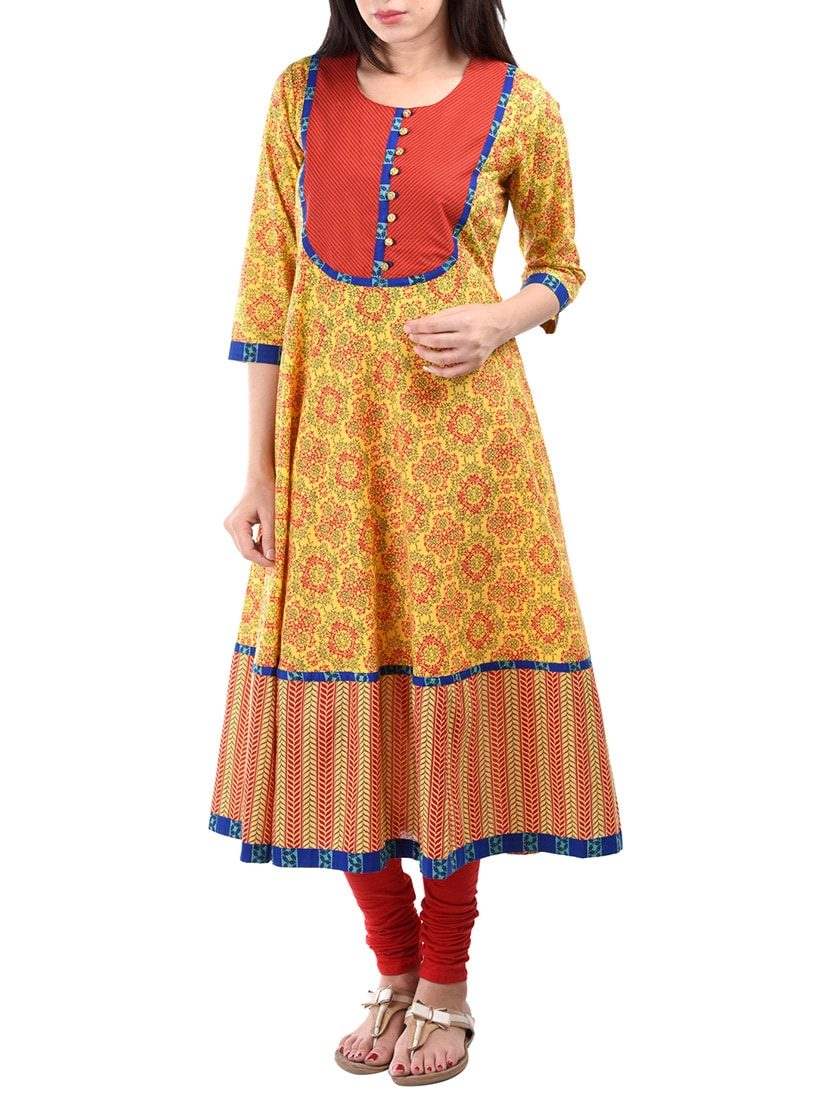 Yellow Color, Cotton Printed A- Line Kurta - By
