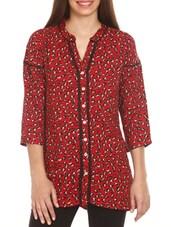 Red Animal Print Cotton Top - Mustard