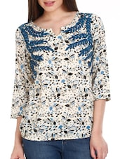 White Leaf Print Viscose Top - Mustard