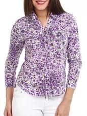 Purple Floral Print Cotton Shirt - Mustard